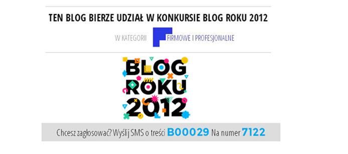 BLOG ROKU 2012 – LICZYMY NA WAS ! :)